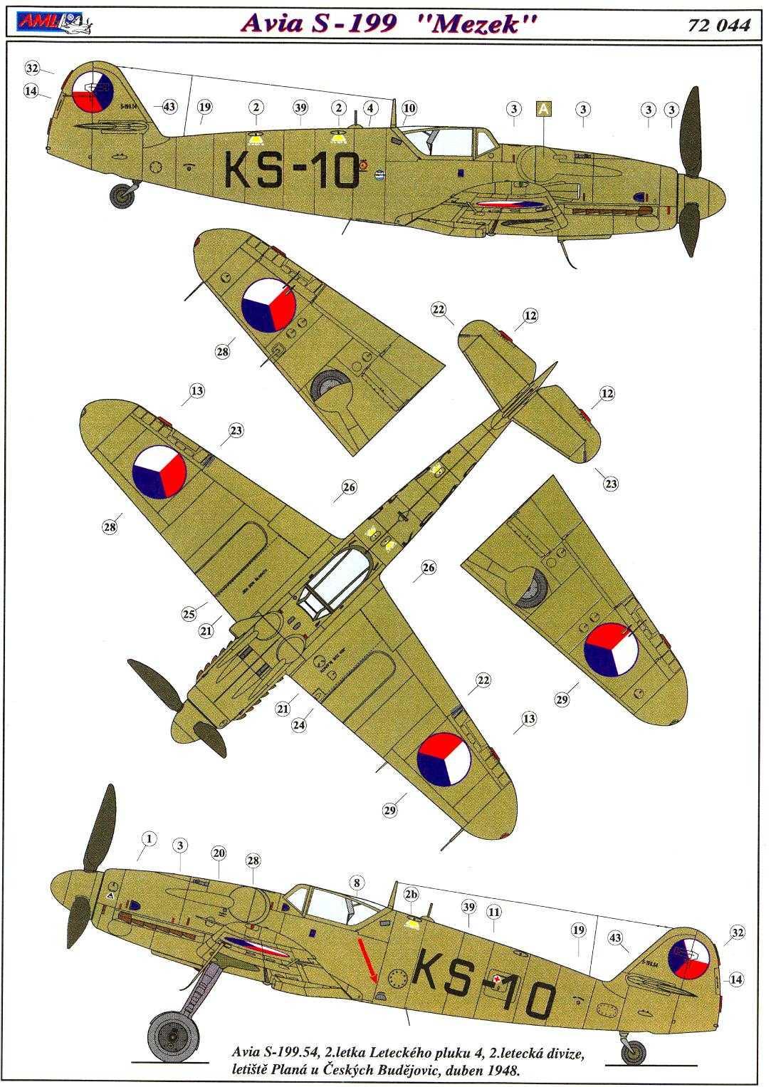 AML Models Decals 1//72 AVIA S-199 SAKEEN Israeli Fighter