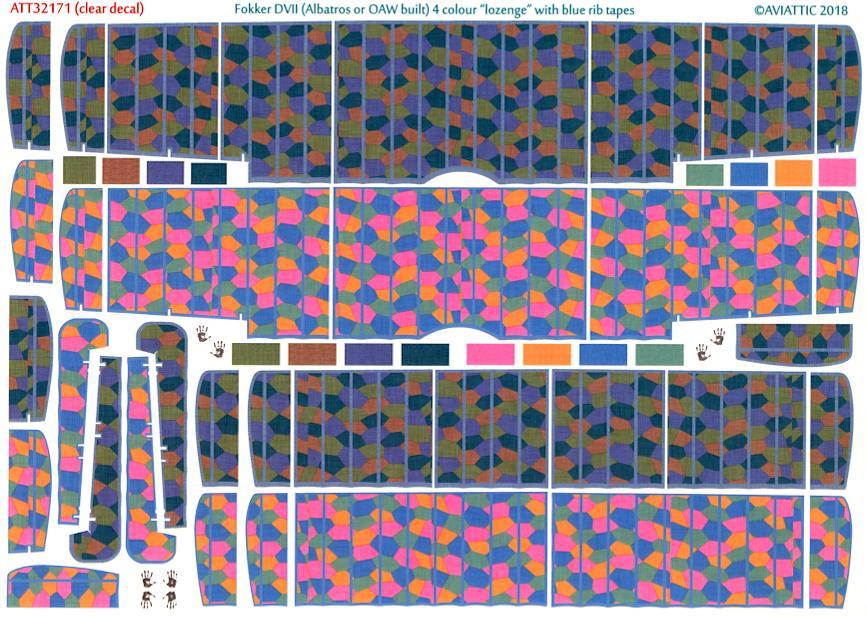4-COLOR LOZENGE TAIL LOZENGE TAPES FOKKER Aviattic Decals 1//32 FOKKER D-VII