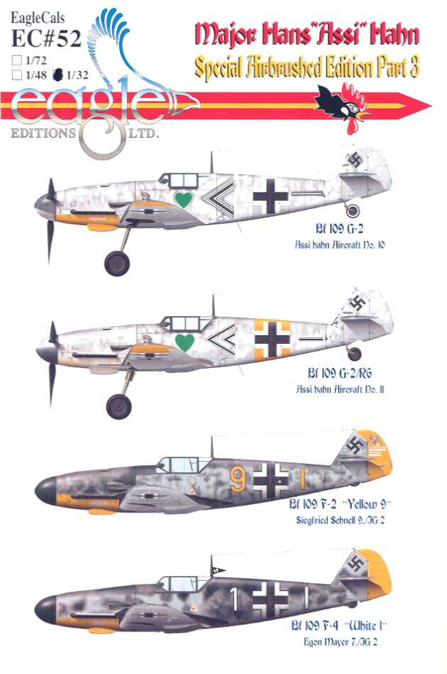 EagleCals Decals 1//32 Bf-109 MAJOR HANS ASSI HAHN Special Airbrushed Set Part 3