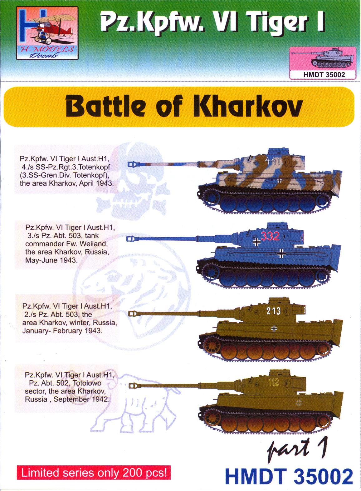 Details about h models decals 1 35 tiger i tank battle of kharkov