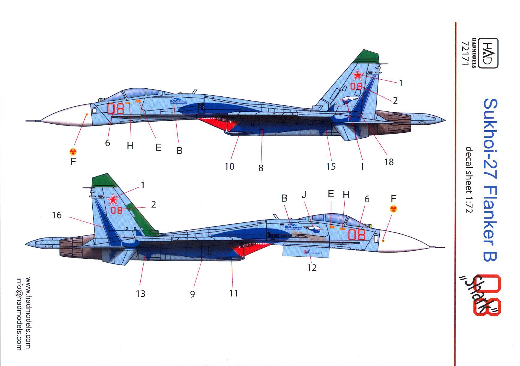 """Hi Decals 1//72 SUKHOI Su-27 /""""FLANKER B/"""" Soviet Jet Fighter"""