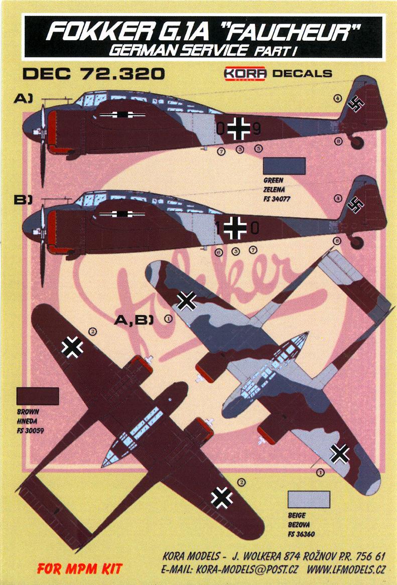 KORA Decals 1//72 FOKKER G.1A FAUCHEUR REAPER in German Service Part 1