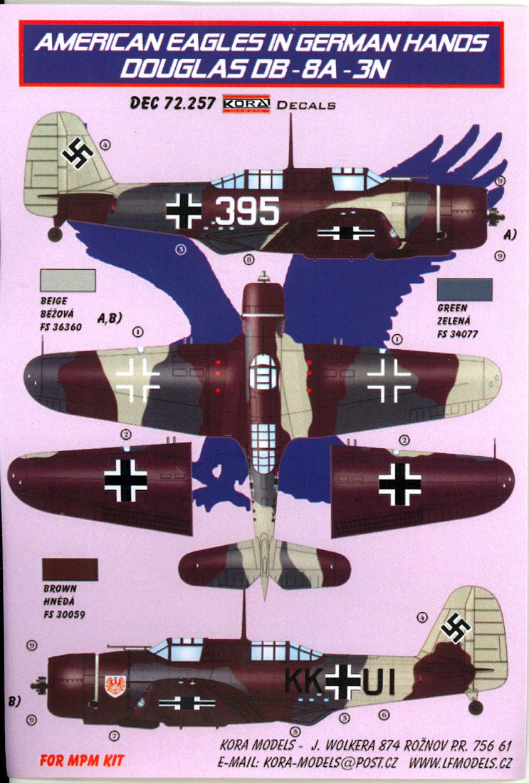 KORA Decals 1//72 CURTISS P-40F WARHAWK American Aircraft in German Hands