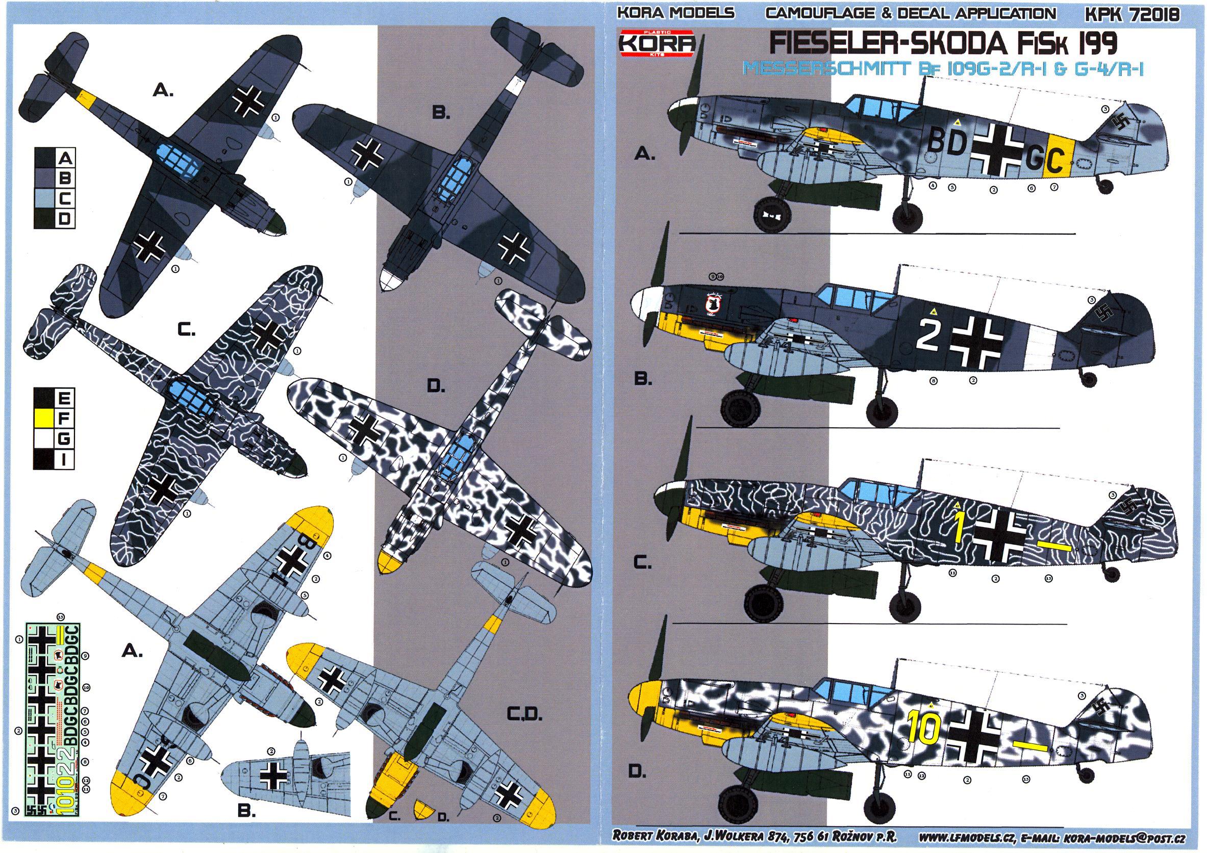KORA Models 1/72 FIESELER SKODA FiSk 199 Bf-109G-2 JABO-REI IN ACTION   eBay