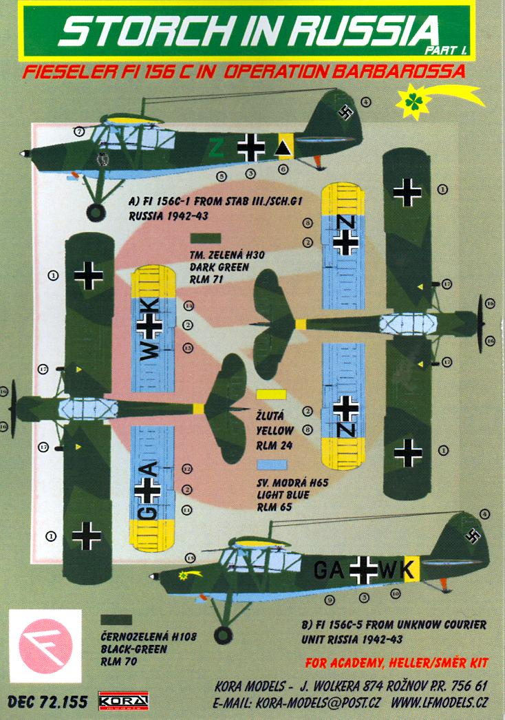 KORA Decals 1//72 FIESELER Fi-156C STORCH with Resin Skis in Russia Part 3