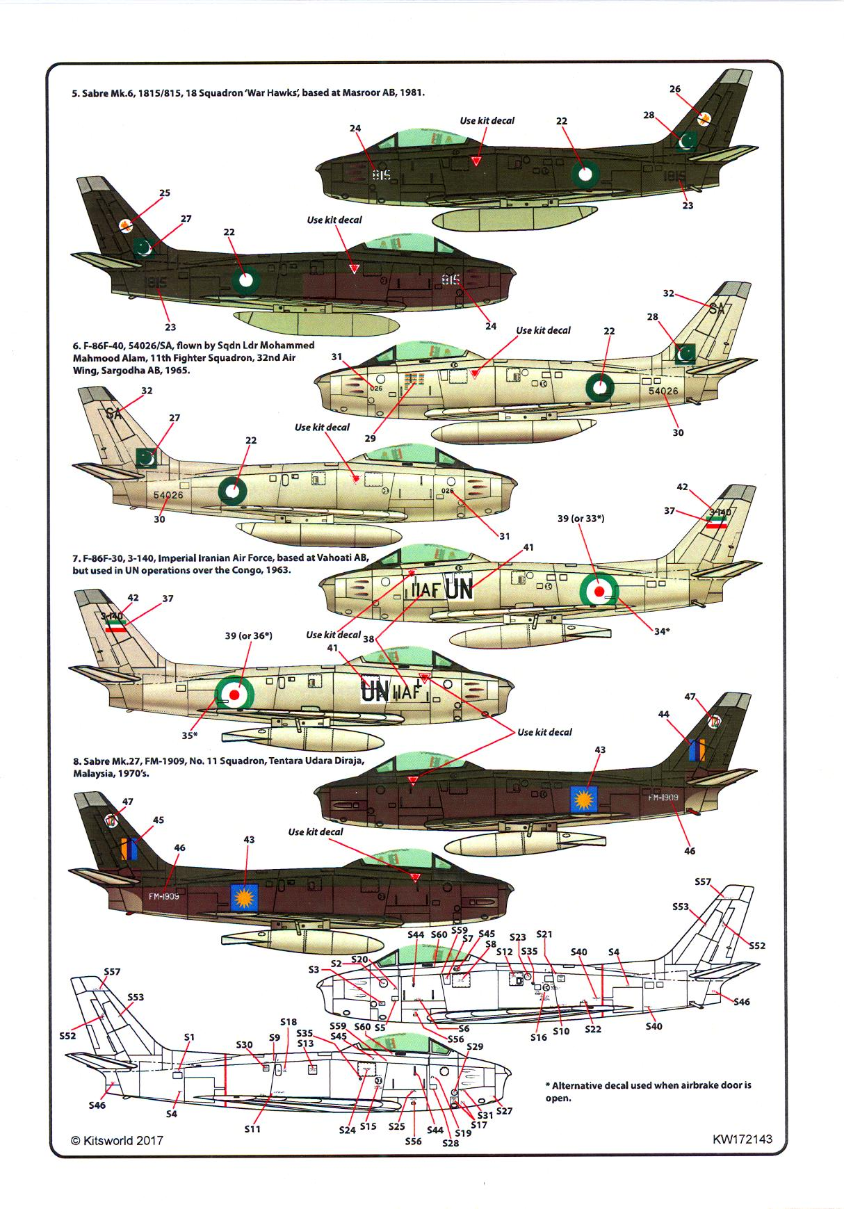 Print Scale Decals 1//72 NORTH AMERICAN F-86 SABRE Jet Fighter