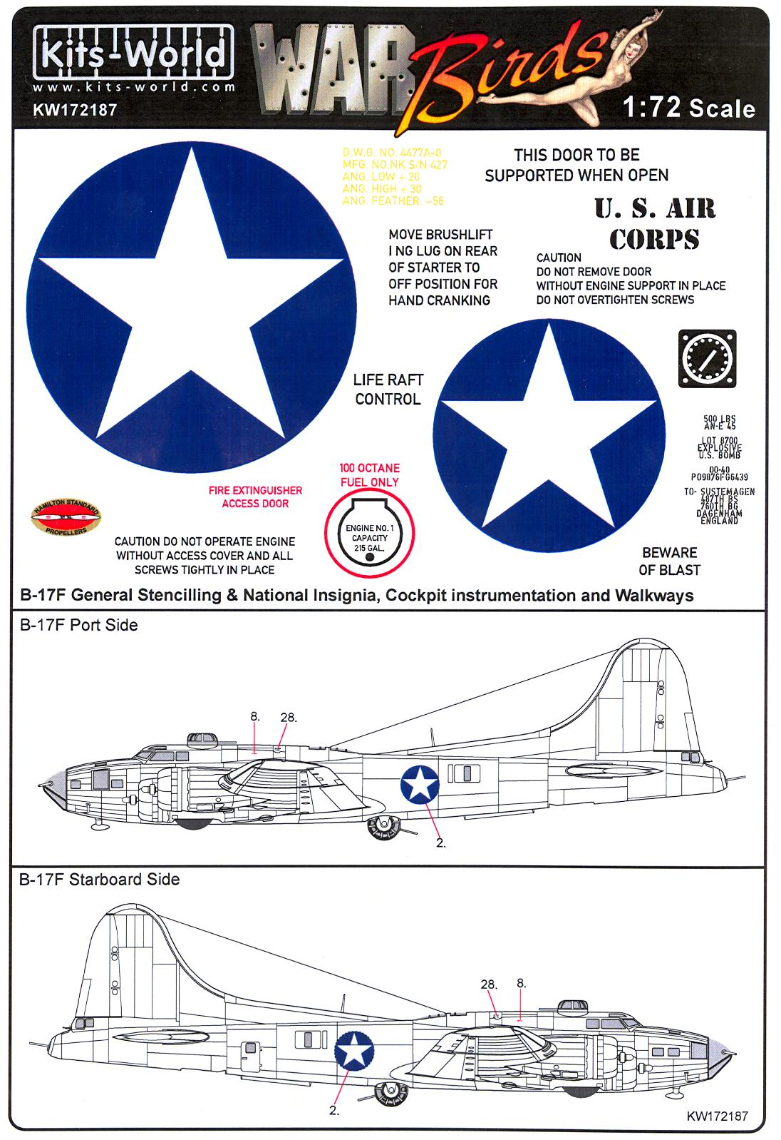 Kits World Decals 1 72 B 17 Flying Fortress Early War Stars Bars 427 Engine Diagram Click Image For Larger Preview