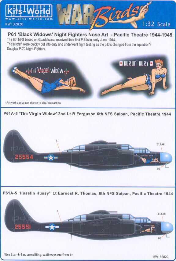kits world decals 1 32 p 61 black widow night fighter ebay