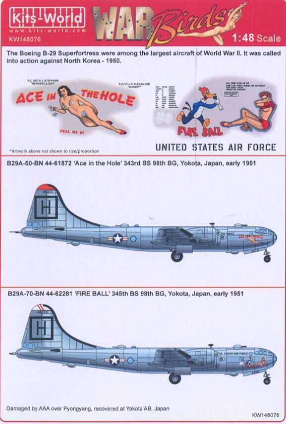 Kits World Decals 1 48 BOEING B 29 SUPERFORTRESS 98th Bomb Group