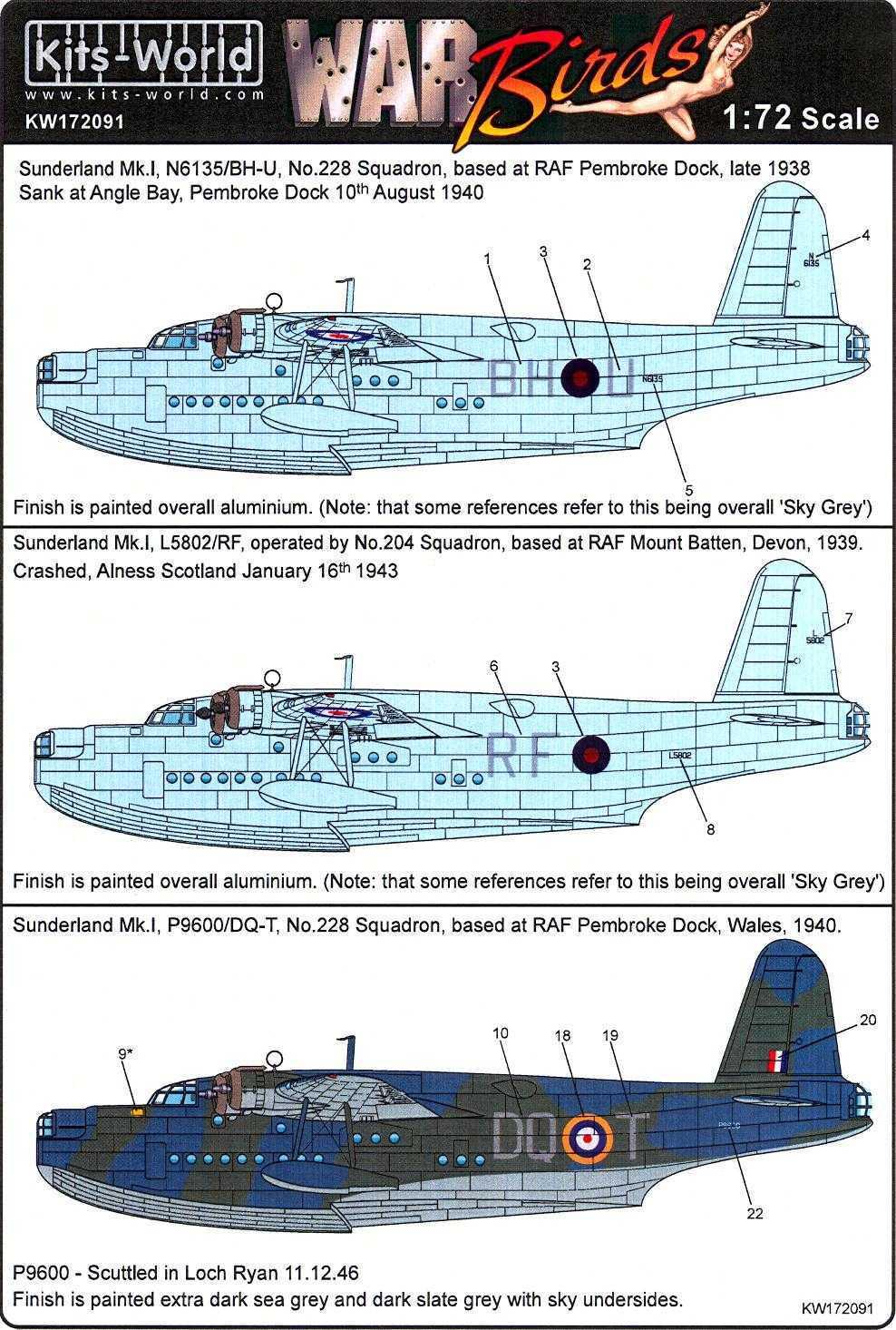 RAF Decalset Kits World 172091-1:72 Short Sunderland MKI Neu