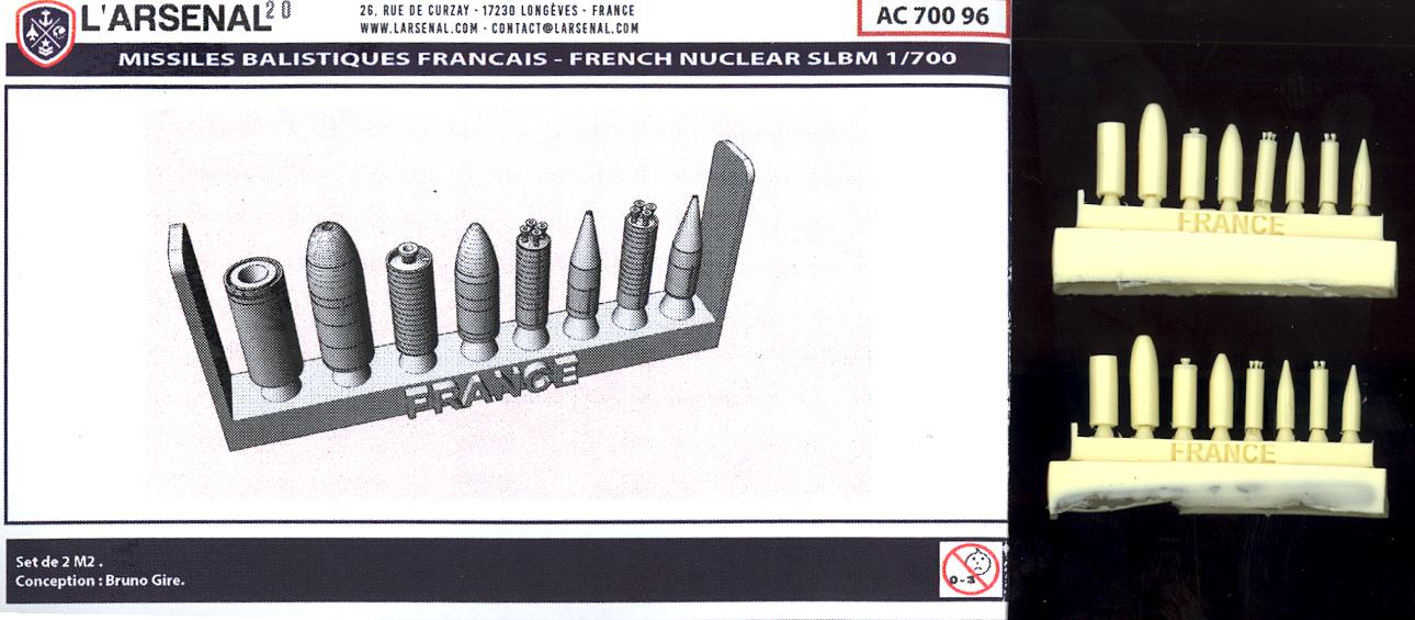 L/'Arsenal Models 1//700 FRENCH SLBM BALLISTIC MISSILES Resin Set
