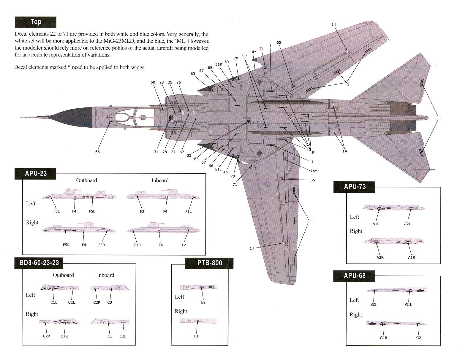Linden Hill Decals 1//48 MIKOYAN MiG-23 ML//MLD//P AIRFRAME STENCIL DATA
