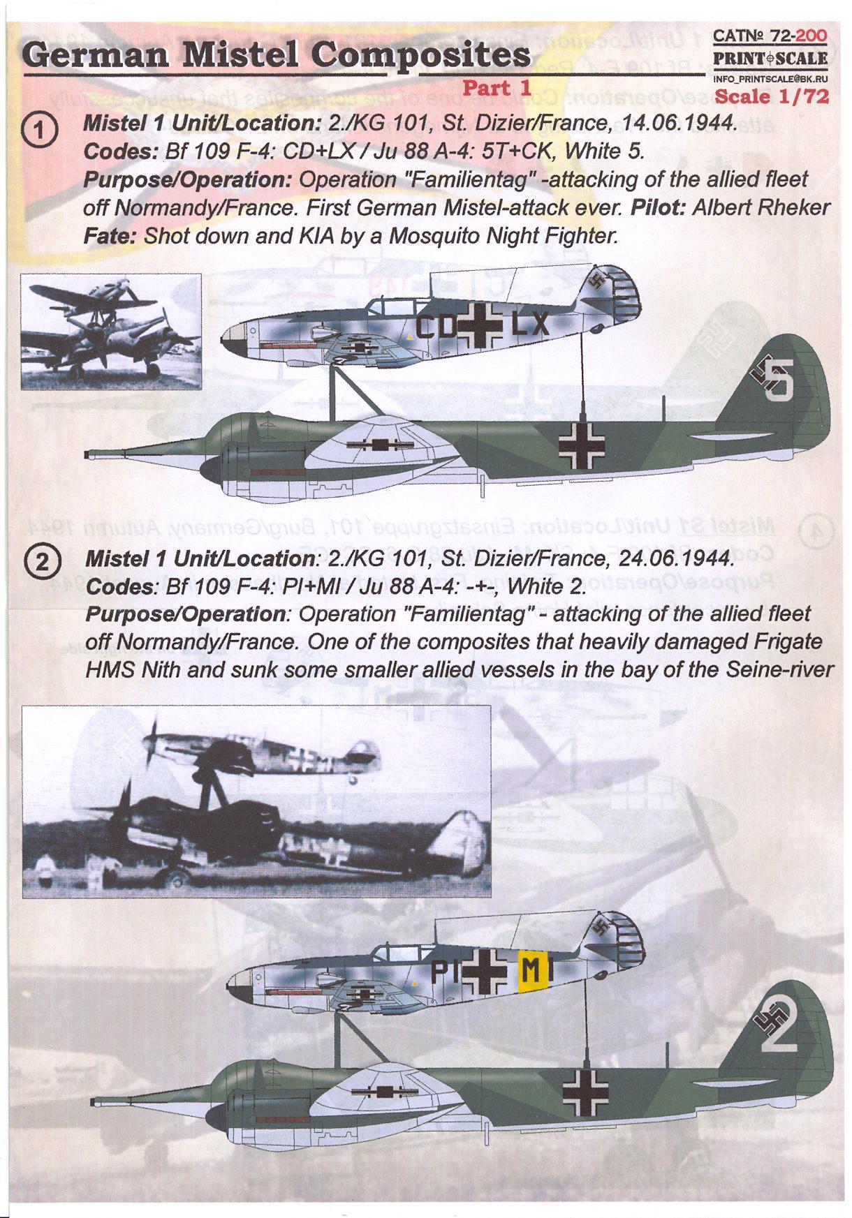 Details about Print Scale Decals 1/72 GERMAN MISTEL COMPOSITE AIRCRAFT Part  1