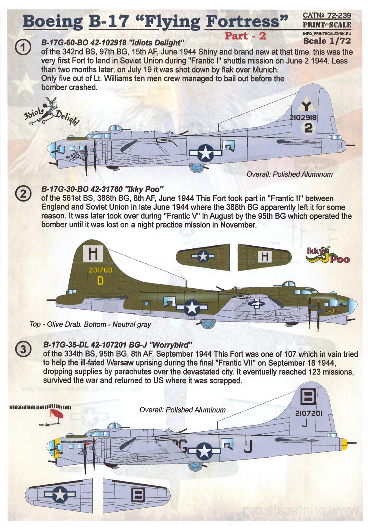 print scale decals 1 72 boeing b 17 flying fortress heavy bomber