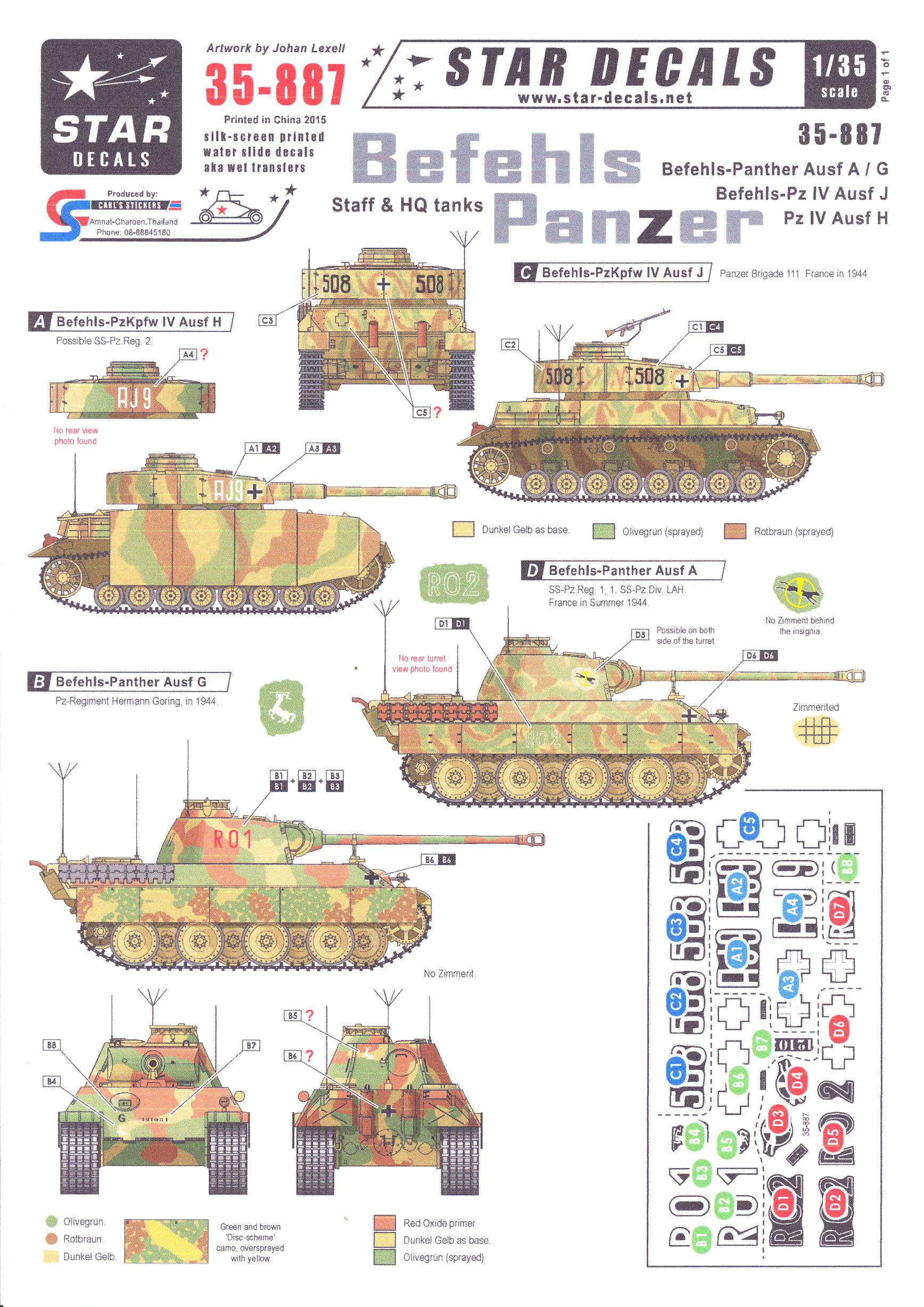 Star Decals 1/35 BEFEHLS PANTHER Staff & Headquarters Tanks Part 2 ...