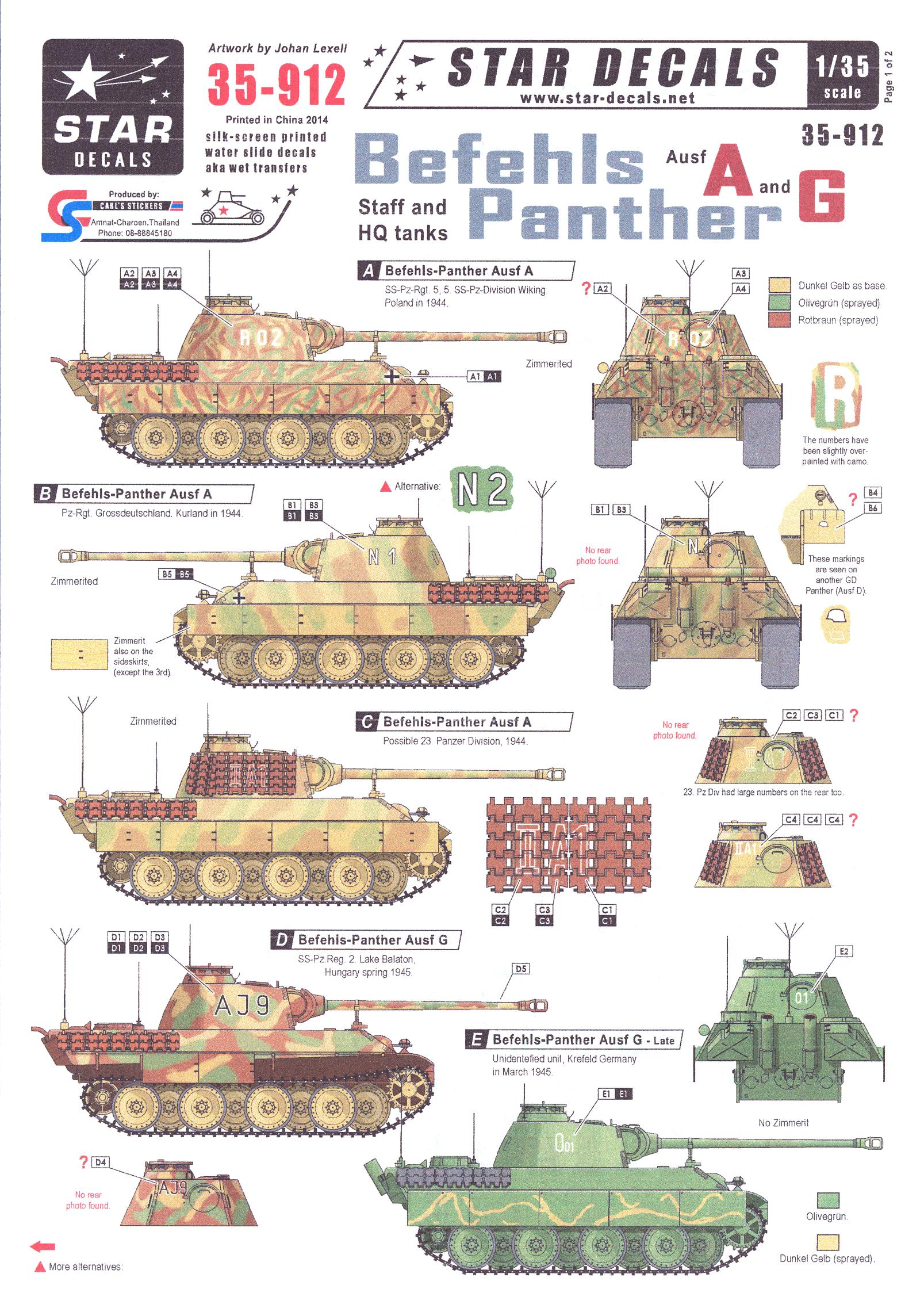 Star Decals 1/35 BEFEHLS PANTHER Staff and Headquarters Tanks   eBay