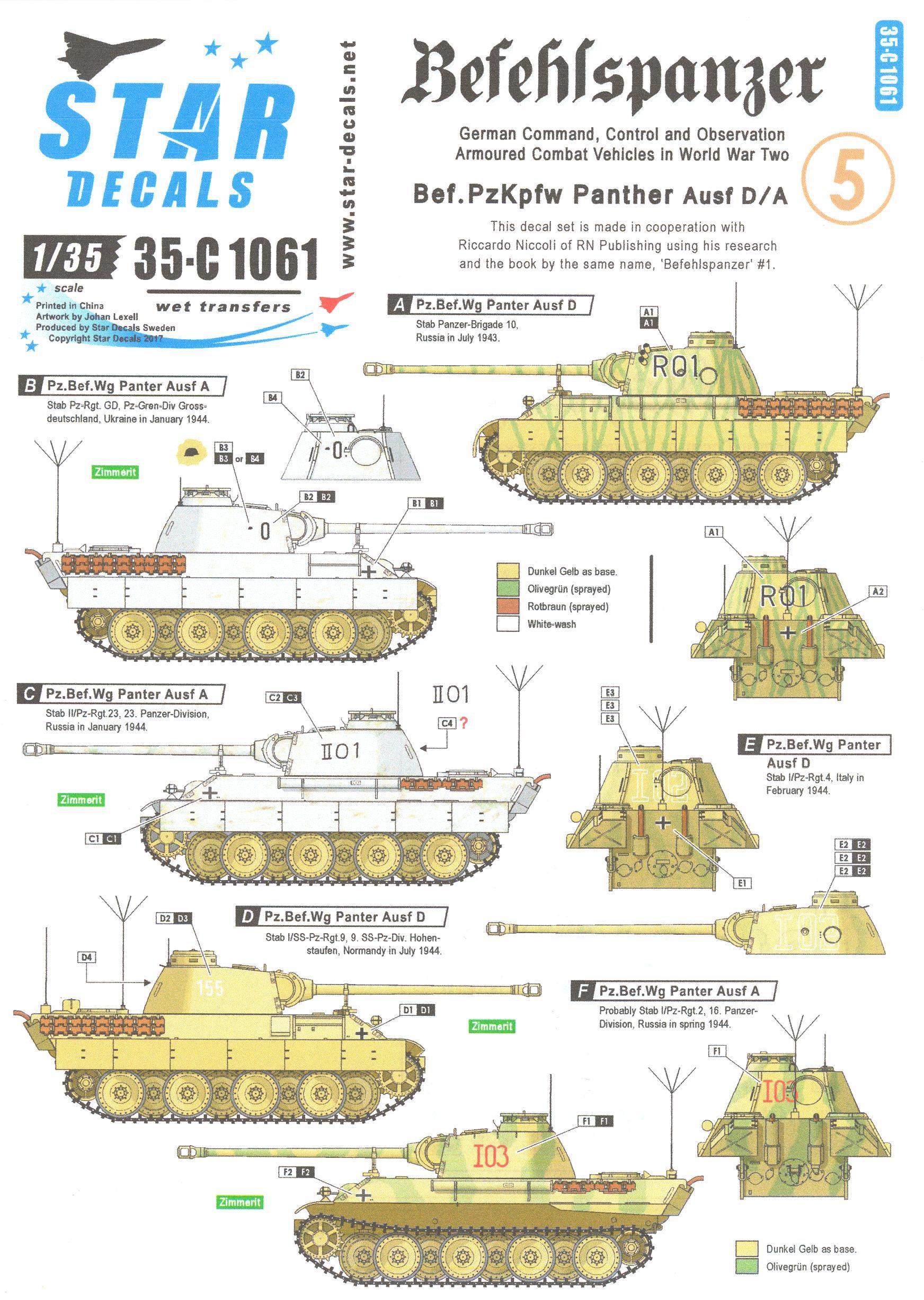 Star Decals 1/35 BEFEHLSPANZER Bef.Pzkpfw Panther Ausf.D/A   eBay