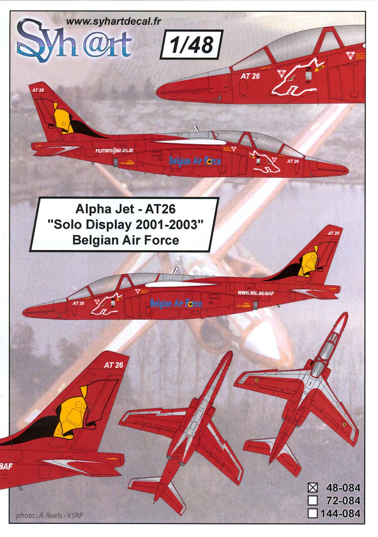 Syhart Decals 1//144 F-16AM FALCON SOLO DISPLAY 2009 Belgian Air Force