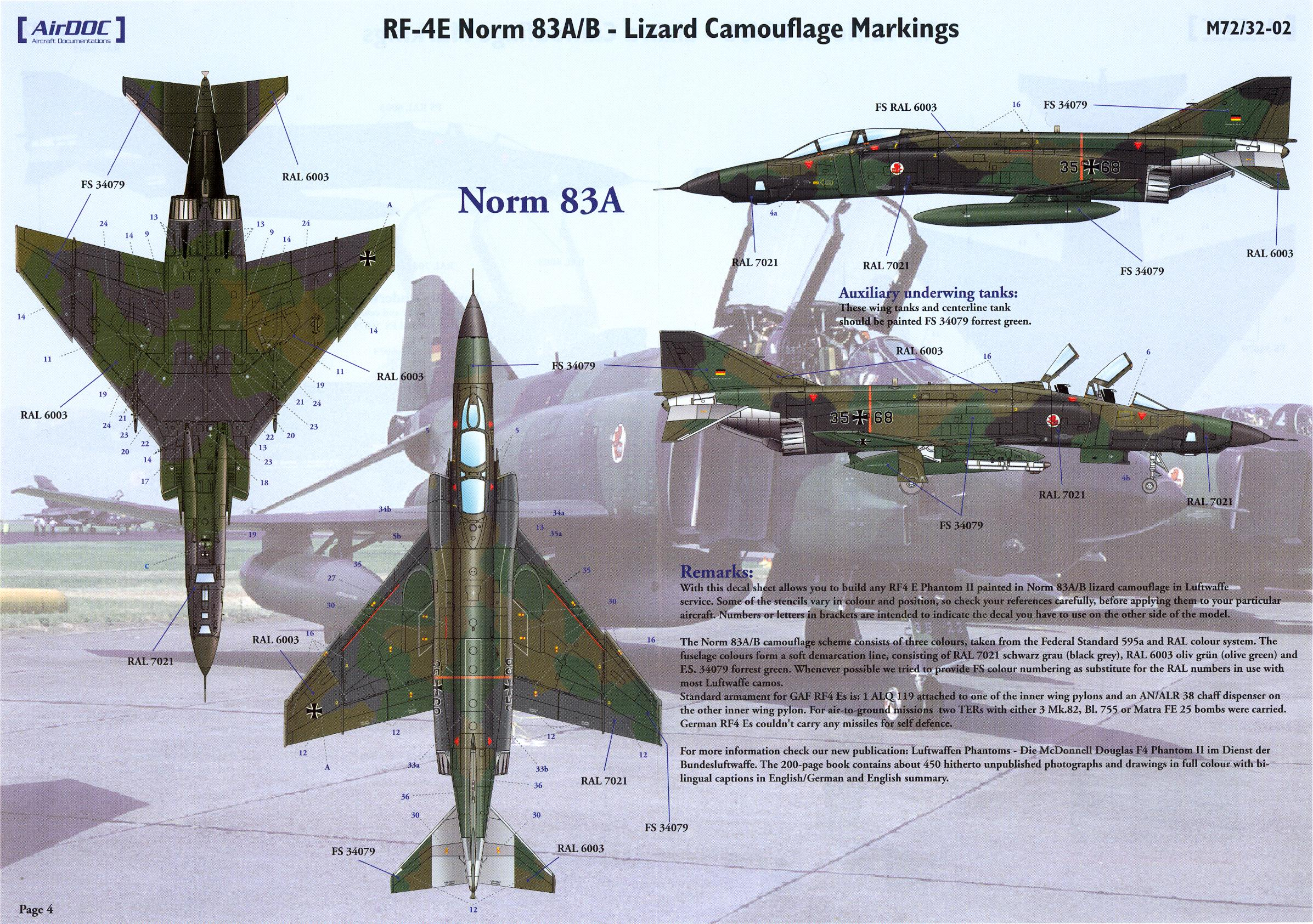 AirDoc Decals 1//32 LUFTWAFFE RF-4E PHANTOM II Norm 72 Camouflage STENCILS