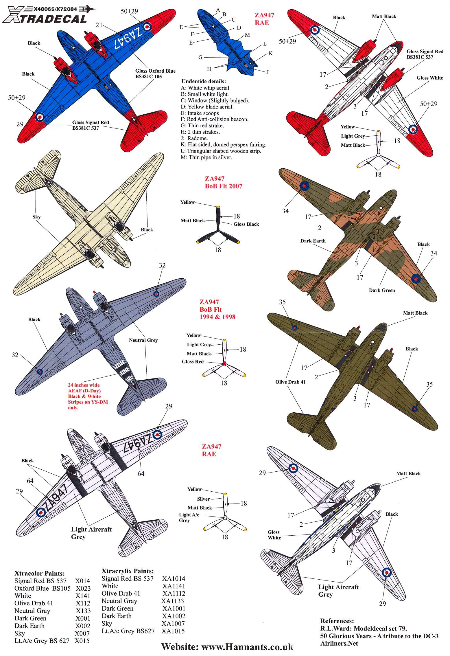 Xtra Decals 1//48 DOUGLAS C-47 SKYTRAIN 1981-2008 RAE /& BofB Memorial Flight