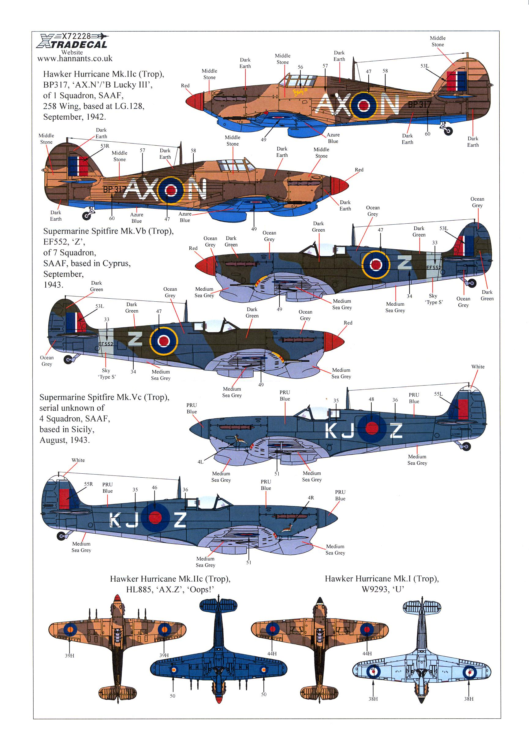 Details about  /Xtra Decals 1//72 SOUTH AFRICAN AIR FORCE WWII FIGHTERS Part 1