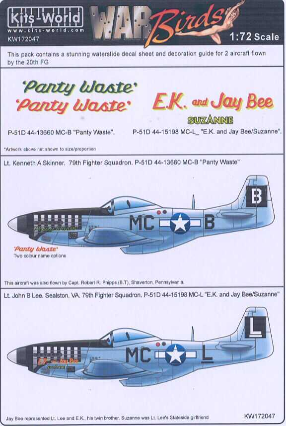 Kits World Decals 1//72 NORTH AMERICAN P-51 MUSTANG Fighter 7 NOSE ART VERSIONS!