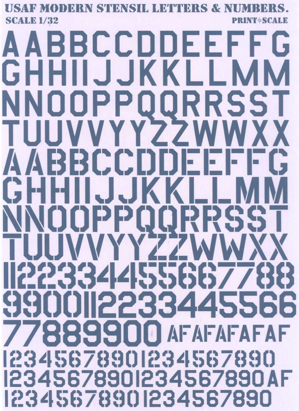 Print Scale Decals US AIR FORCE MODERN STENCIL LETTERS - Decal numbers lettersusaf modern stencil lettersnumbers whitedecal