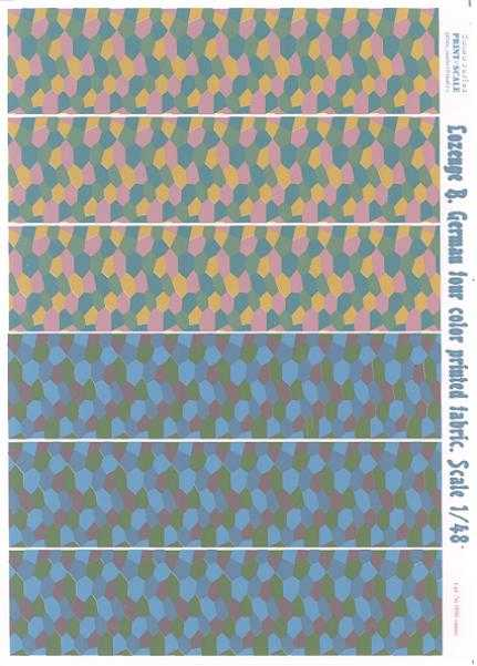 Print Scale Decals 1 48 German WWI 4 COLOR LOZENGE CAMOUFLAGE