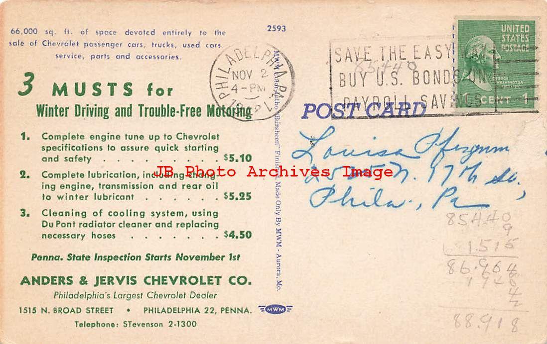 Advertising Linen Postcard, Anders & Jervis Chevrolet ...