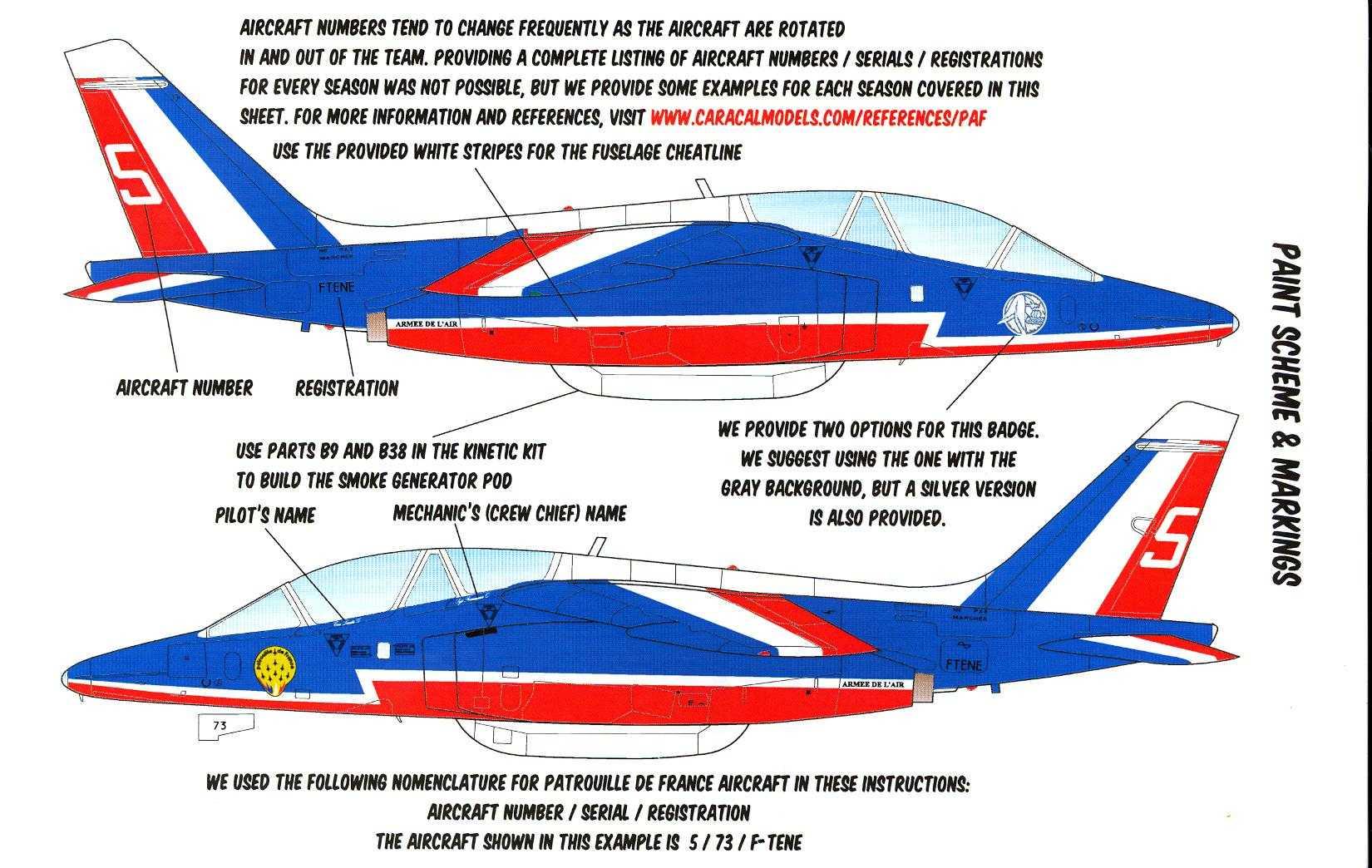 CARACAL DECALS 1/48 PATROUILLE de FRANCE French Alpha Jet Aerobatic Team