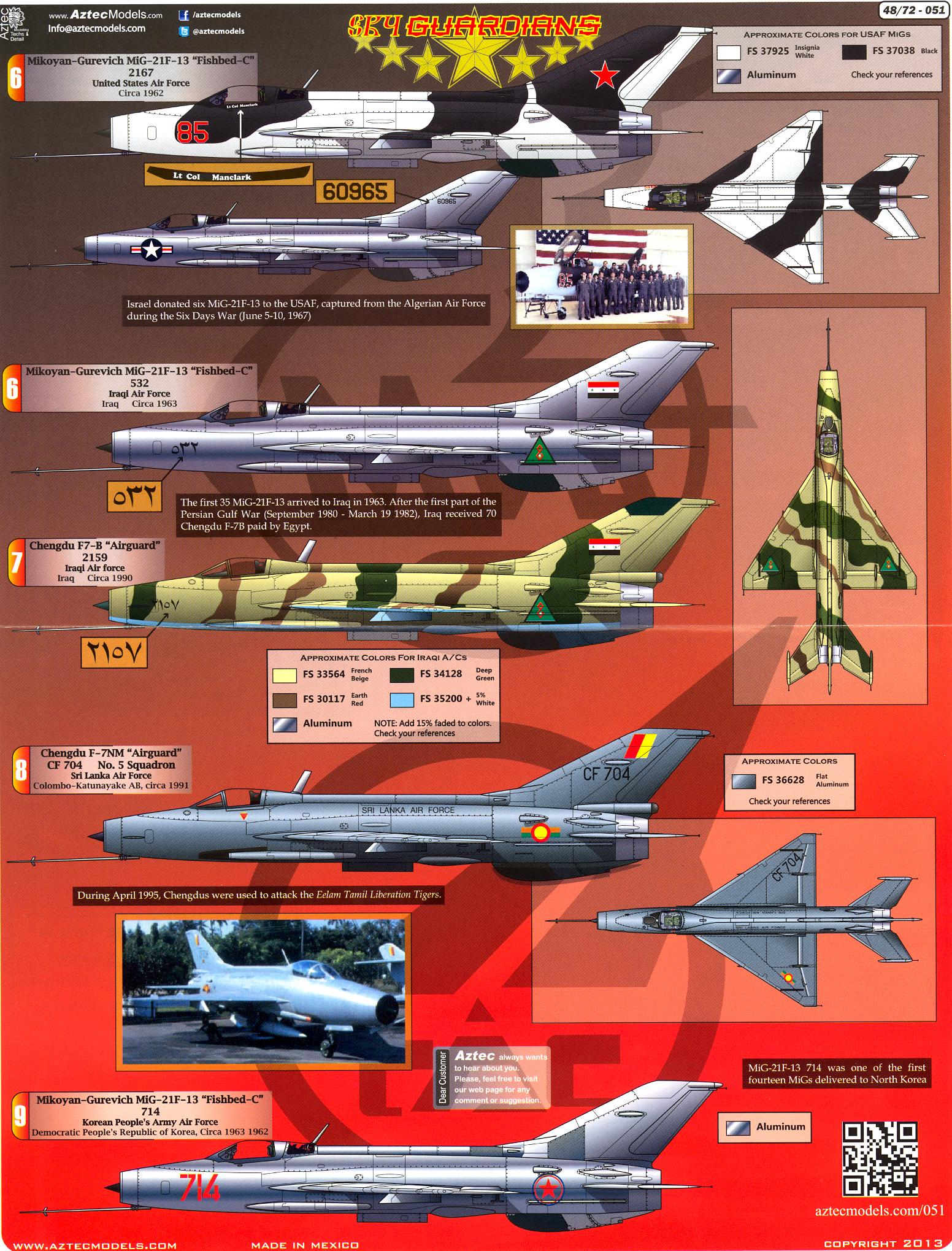 21 International Fashion Magazine You Ll Love: Aztec Decals 1/48 SKY GUARDIANS MIKOYAN MiG-21 In