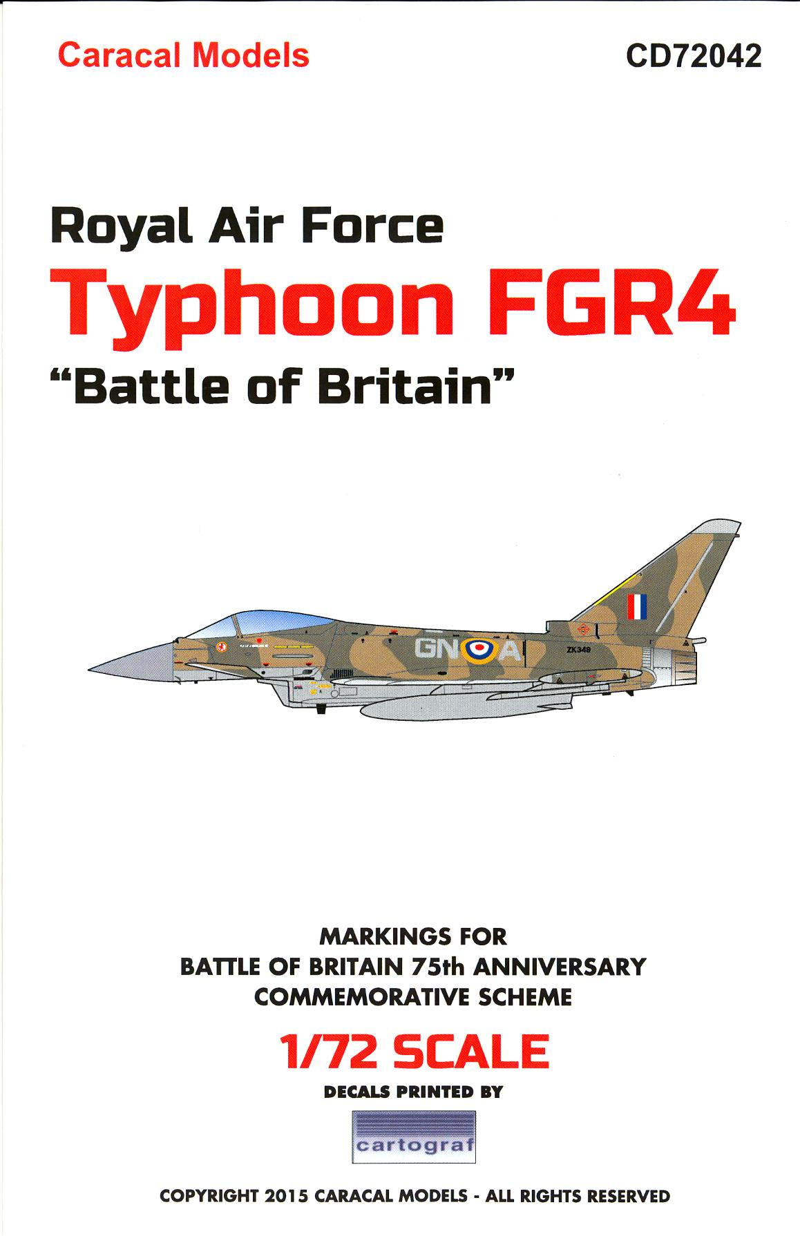 "Caracal Decals 1/72 Royal Air Force TYPHOON FGR4 ""BATTLE ..."