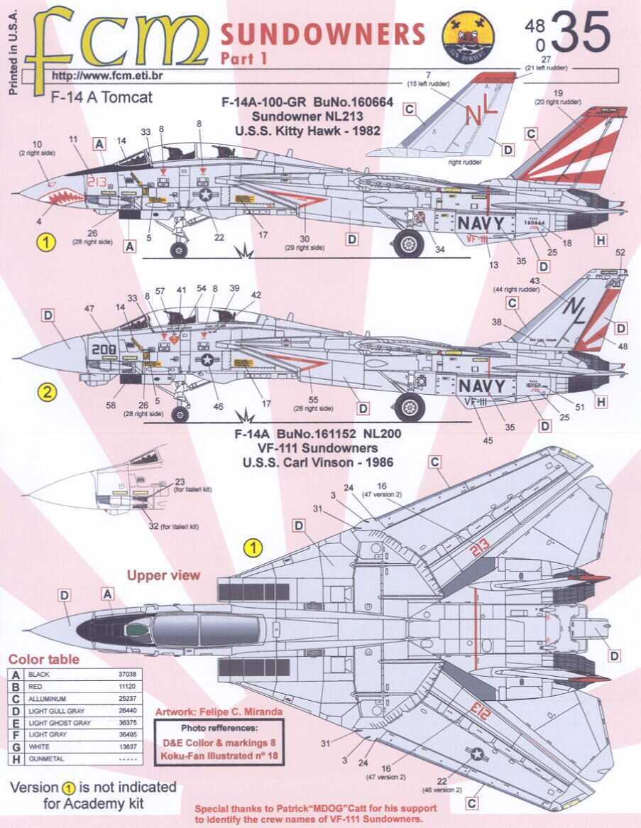 Details about FCM Decals 1/48 F-14 TOMCAT SUNDOWNERS VF-111 Part 1