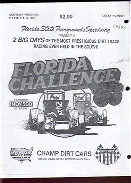 Florida Auto Racing on 1985 Florida Challenge Champ Dirt Cars Racing Program Feb 8 9 Ex  Sku